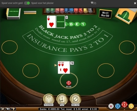 screenshot blackjack. ken jij de internationale blackjack regels?