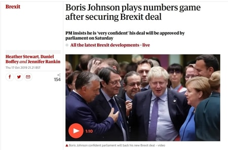 Brexit gokken hot na Brexit deal Boris Johnson